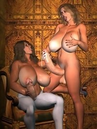big tit futanari girls have fun in castle
