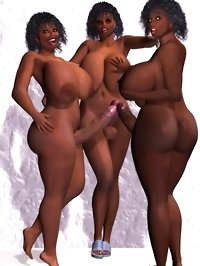 three black shemale babes posing nude in 3d toon gallery
