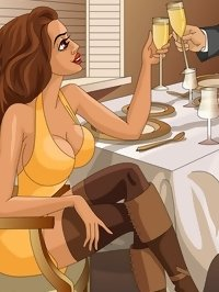 futa prostitute seduces a man in a restaurant